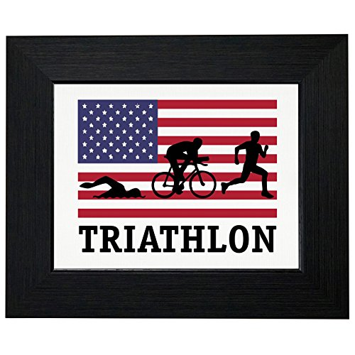 USA Olympic - Triathalon - Vintage Flag - Silhouette Framed Print Poster Wall or Desk Mount - Triathalon Usa