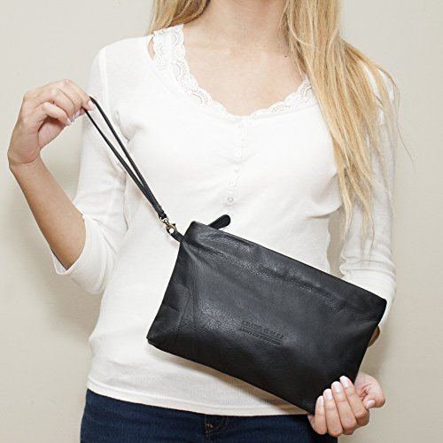 Black leather pouch Wristlet strap clutch with handle Handmade Makeup evening bag for woman