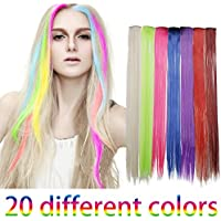 """Smilco 20 Pcs 22"""" Straight Colored Hair Extensions Clip in Hair Extensions Include 20 Different Multiple Colors"""