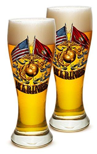 Pilsner - US Marine Corps Gifts for Men or Women - Double Flag Gold Globe Marine Corps Beer Glassware - USMC Barware Glasses Set of 2 (23 Oz) ()