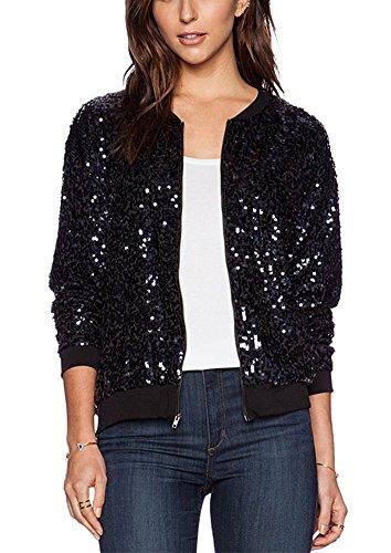 summerwhisper womens glitter sequin cool baseball jacket