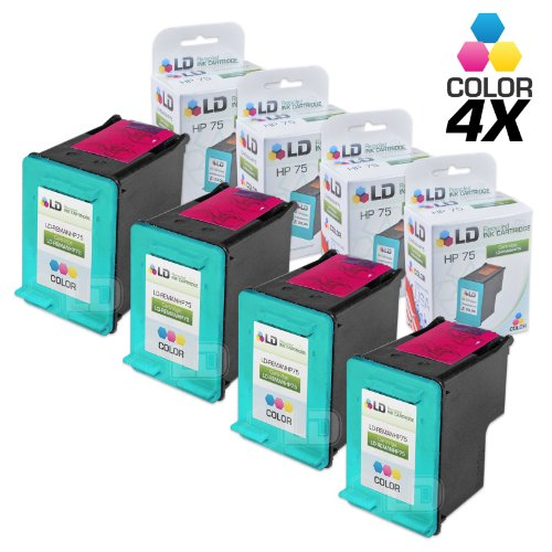 LD Remanufactured Ink Cartridge Replacement for HP 75 CB337WN (Color, 4-Pack)