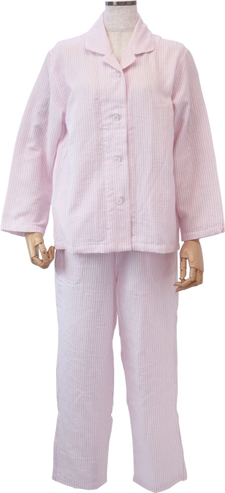 UCHINO マシュマロガーゼ ストライプ レディスパジャマ (M) ピンク RPZ18029 M P B01H1DAQ4Sピンク Medium