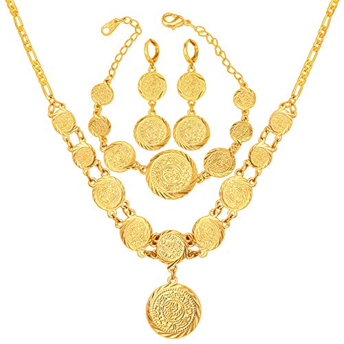 WELRDFG Wedding Women's Jewelry Sets 18K Stamps and Coins Antique Earrings Bracelet Necklace Set (18K Gold Plated)
