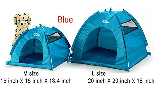 One-Touch Portable Folding large Dog House tent for indoor,outdoor waterproof (Blue, L)