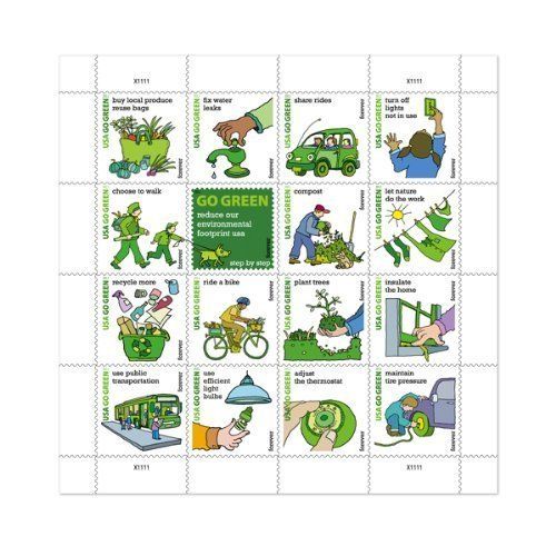 Free 2011 Go Green Sheet pane of 16 US Stamps .