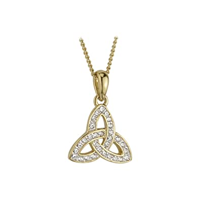 Amazon gold plated trinity knot pendant encrusted with crystals gold plated trinity knot pendant encrusted with crystals aloadofball Gallery