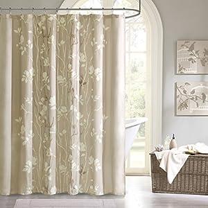 "Madison Park MPE70-036 Essentials Vaughn Shower Curtain 72x72"" Taupe,72x72"""