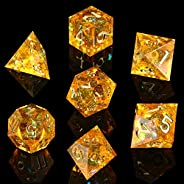 AUSPDICE DND Dice Set Handcrafted Designer 7-Die Polyhedral RPG Dice Set with Sharp Edges and Beautiful Inclus