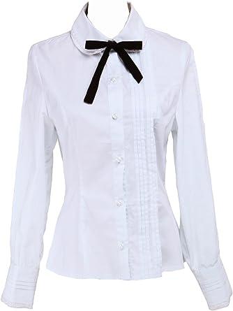 Blanca Algodón Encaje Negra Bow Tie Simple Victoriana Lolita Camisa Blusa de Mujer
