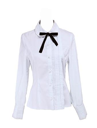 e9171f9d263552 Antaina White Cotton Lace Black Bow Tie Simple Victorian Lolita Shirt Blouse