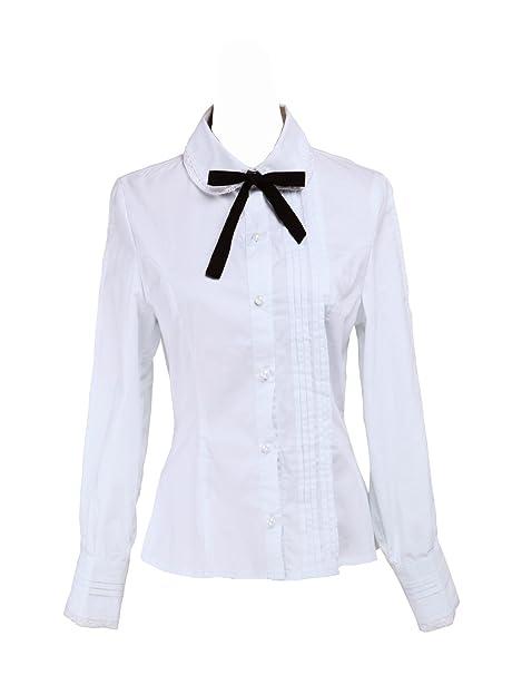 ae52412dcc1a an*tai*na* Blanca Algodón Encaje Negra Bow Tie Simple Victoriana ...