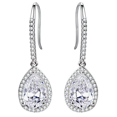 EleQueen Womens Silver-tone Cubic Zirconia Tear Drop Bridal Dangle Pierced Hook Earrings Clear