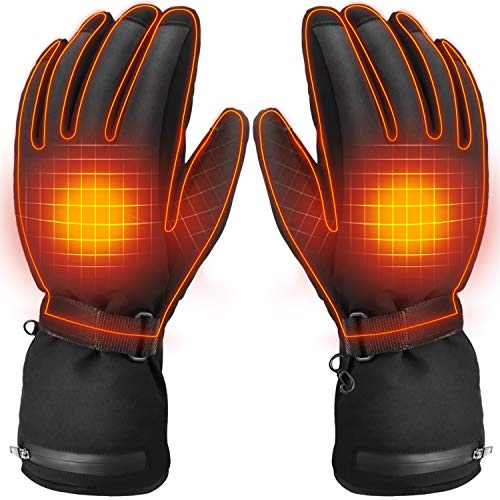 Electric Heated Gloves | With 3.7V Battery Powered Rechargeable Self Heating Winter Mittens for Men & Women | Adjustable Levels of Hand Warming | Wind & Waterproof Thermal Glove Design to Keep You War