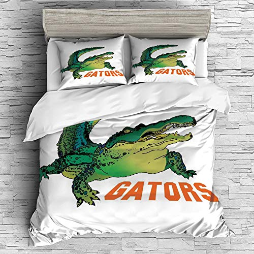 (Cotton Duvet Cover Set 4 Pcs, Simple Solid Design, Super Soft and Easy Care(Singe Size) Reptiles,Grumpy Alligator Has a Word Gator Crocodile Humor Wild Life Safari Aquatic Print,Green Orange White)