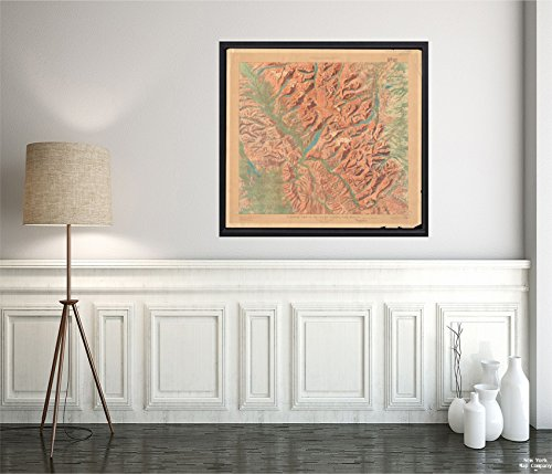 1914 Map Glacier National Park Panoramic View of The Glacier National Park, Montana Relief Shown by Vintage Fine Art Reproduction Ready to Frame