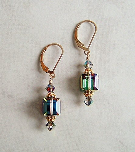 Medium Vitrail Multi Green Aurora Square Cube Gold Filled Leverback Earrings Made With Swarovski Crystals Gift Idea