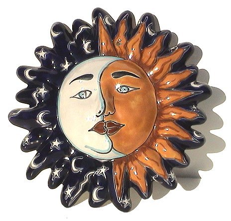 Moon Talavera Ceramic Sun Face (Hand Painted Mexican Pottery)