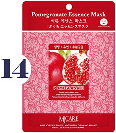 Pack of 14, The Elixir Beauty MJ Korean Cosmetic Full Face Collagen Pomegranate Essence Mask Pack Sheet for Vitality, Clarity, Mosturizing, Relaxing