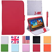 """HDE Universal Folding PU Leather Folio Case Cover Stand for 7"""" Tablets w/ Matching Stylus & Cleaning Cloth (Red)"""
