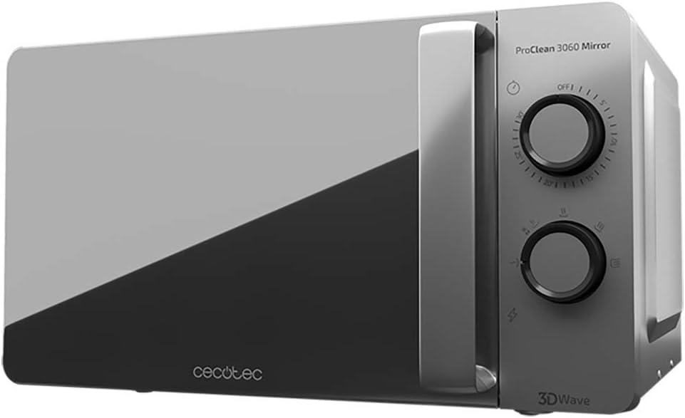 Cecotec ProClean 3060 - Microondas Plateado Mirror y con Revestimiento Ready2Clean para una mejor Limpieza, Tecnología 3DWave, 700 W, 20 l