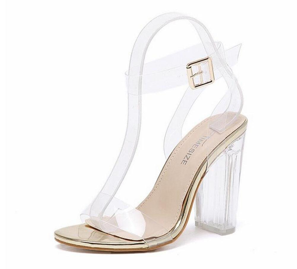 GLTER Mujeres Ankle Strap Bombas Tacones Altos Word Open-Toed Pasarela Show Crystal Shoes Transparente Thick Shoes Sandalias al aire libre , gold , 36 36|gold
