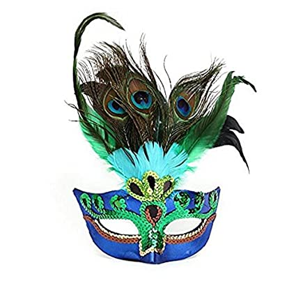 sea-junop Peacock Feathers Mask for Masquerade Costume Party Halloween Cosplay Mask-Blue