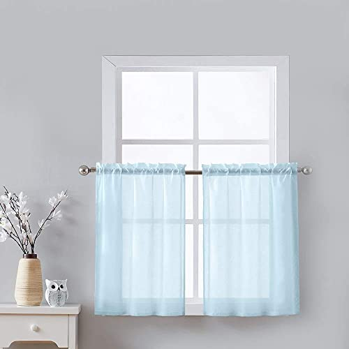 Fmfunctex Kitchen Curtains 36-inches Long Opaque Half Window Tiers Moroccan Tile Jacquard Caf Curtain Sheers for Bathroom Windowsill 28 w x 2 Panels, Clearwater Blue