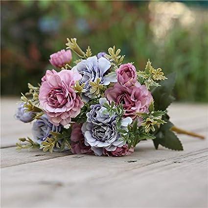 Xingxx Artificial Flower Kunstmatige Boeket Zijden Bloemen Voor Decoratie Kleine Nep Rozen Bloem Bruiloft Decor Herfst Faux Purple Amazon Co Uk Kitchen Home