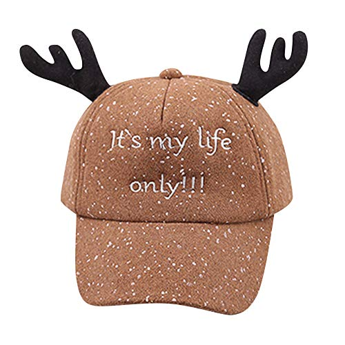 Baby Hat,YJYdada Cute Kids Child Letter Bongrace Christmas Antlers Hat Peak Baseball Cap Sunhat (Khaki) ()