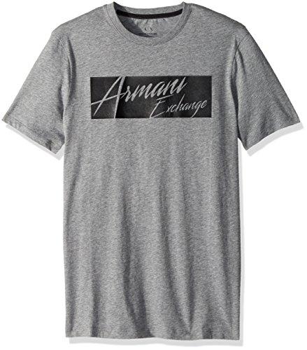 Classic Logo Black Tee - A|X Armani Exchange Men's Classic Cotton Armani Exchange Logo Tee, Brooks Black Heather Grey, S