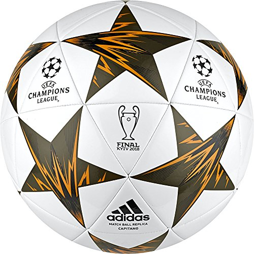 adidas Champions League Finale Kiev Capitano Soccer Ball, White/Orange, Size 5