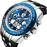 Golden Hour 3atm Waterproof Huge Heavy Military Men's Sports Watches with Rubber Band (Multiple Color)