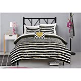 Black and White Comforter Set 5 Piece Girls Black White Gold Glitter Stripes Theme Comforter TwinXL Set, All Over Beautiful Girly Striped Inspired Boho Chic Polka Dots Pattern, Elegant Dotted Reversible Bedding, Vibrant Multi