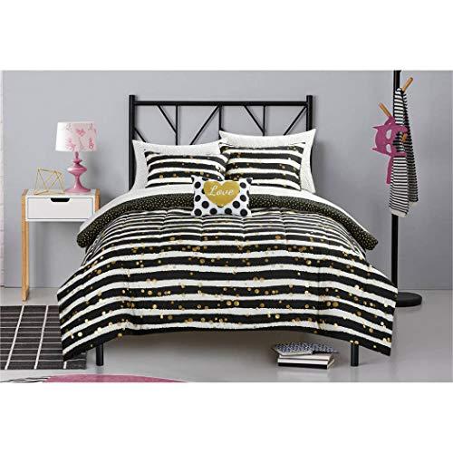 5 Piece Girls Black White Gold Glitter Stripes Theme Comforter TwinXL Set, All Over Beautiful Girly Striped Inspired Boho Chic Polka Dots Pattern, Elegant Dotted Reversible Bedding, Vibrant Multi