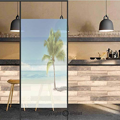 (3D Decorative Privacy Window Films,Caribbean Maldives Beach Island Sea Ocean Palm Trees Artwork Print,No-Glue Self Static Cling Glass Film for Home Bedroom Bathroom Kitchen Office 24x71 Inch)