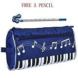 WOGOD Big Capacity Pen Bag Oxford Cloth Pencil Case or Students Stationery bag (dark blue)
