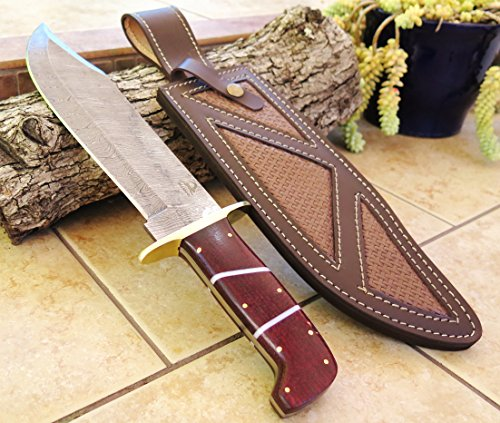 Sale DKC-1101 Jungle Scout Damascus Bowie Knife Blade 10