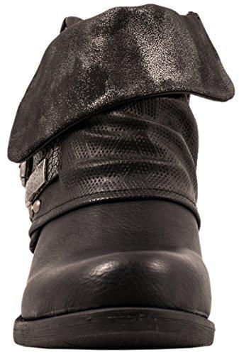 Lederoptik Stiefeletten Gef Prints Schnallen Damen Boots Nieten Metallic Elara Biker Rqa448