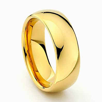 8mm gold tone mens tungsten wedding band size 5