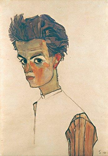 Egon Schiele Artwork - Berkin Arts Egon Schiele Giclee Art Paper Print Art Works Paintings Poster Reproduction(Self-Portrait with Striped Shirt)