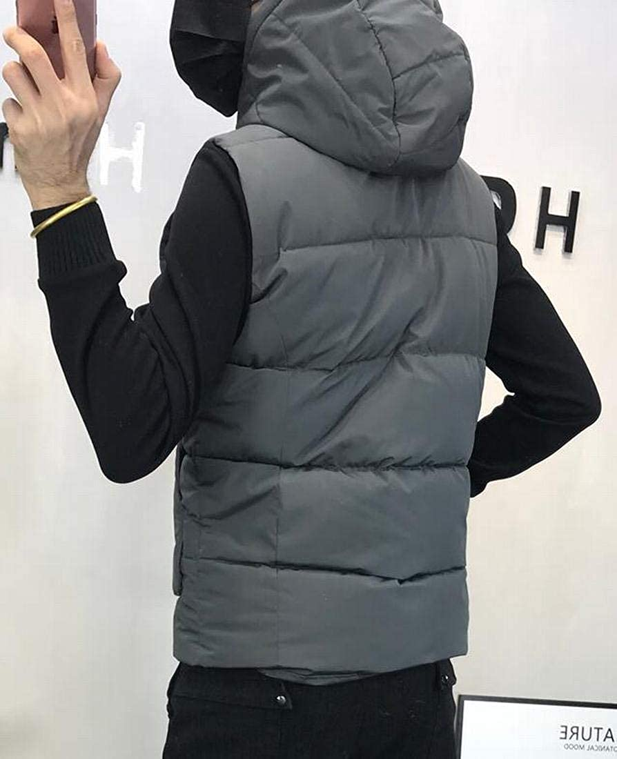 WAWAYA Mens Hooded Lightweight Warm Solid Color Fall /& Winter Down Quilted Waistcoat Vest Jacket