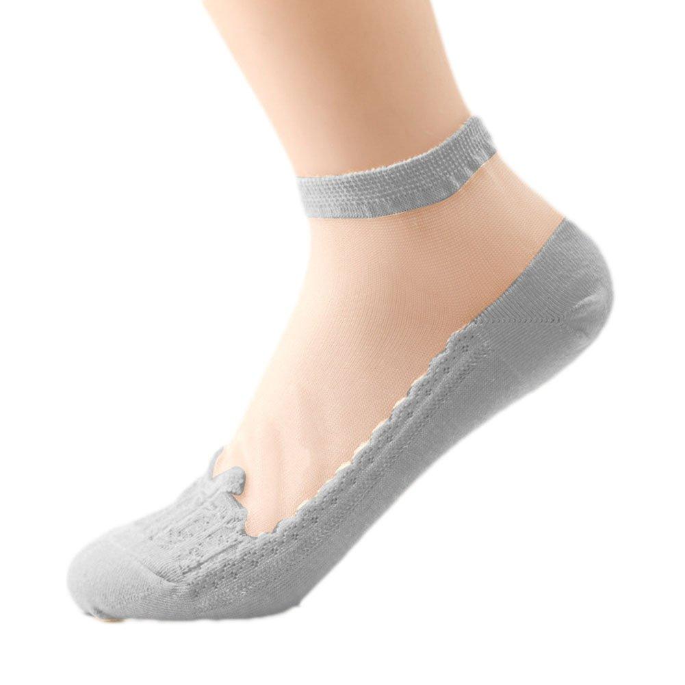Westeng 1 Pares Calcetines para Mujer Cortos Transpirable Moda Barcos Casual Color Puro Calcetines de Encaje (Blanco)