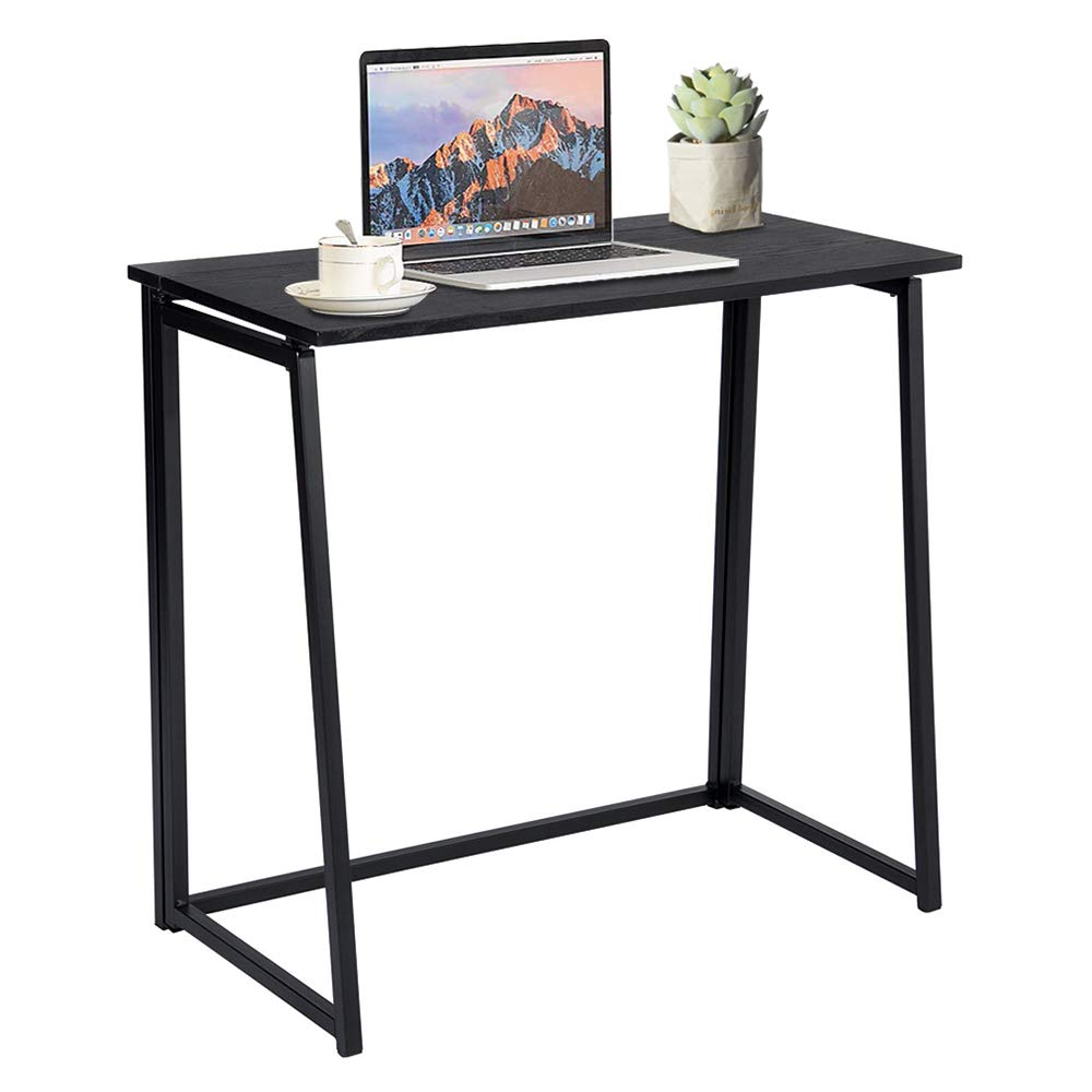 GreenForest Folding Desk, Industrial Small Computer Desk Space Saving Foldable Study Table, Easy Assembly, Black by GreenForest
