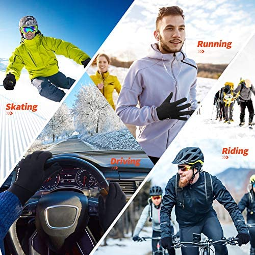 Touch Screen Running Gloves, Snoky Thermal Lightweight Elastic Anti-Slip Winter Gloves Liners for Cold Weather Reflective Logo Cycling Driving Gloves Ski Glove Liner Full Finger for Men and Women