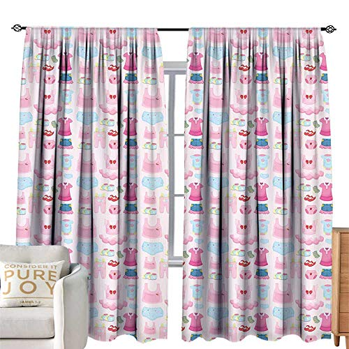 Khaki home Extra Wide Curtain Baby Little Children Garments Cute Skirt Shoes Tutu Adorable Clothes Pattern Pale Pink Baby Blue Pink Simple Style W120 xL96