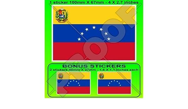 """VENEZUELA Former State Flag 7 star Stickers Decals x2 Venezuelan 100mm 4/"""""""