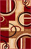 "best colors for living room Well Woven Deco Rings Red Geometric Modern Casual Area Rug 2x4 (2'3"" x 3'11"") Easy to Clean Stain Fade Resistant Shed Free Abstract Contemporary Color Block Boxes Lines Soft Living Dining Room Rug"