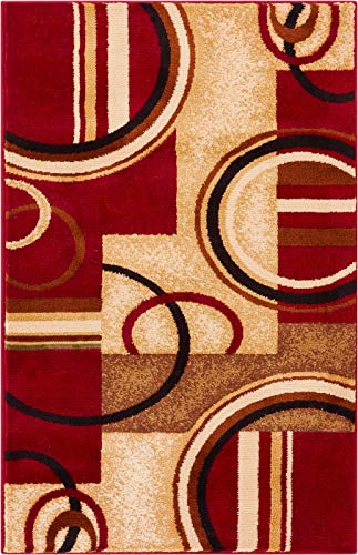 "Well Woven Deco Rings Red Geometric Modern Casual Area Rug 2x4 (2'3"" x 3'11"") Easy to Clean Stain Fade Resistant Shed Free Abstract Contemporary Color Block Boxes Lines Soft Living Dining Room Rug"