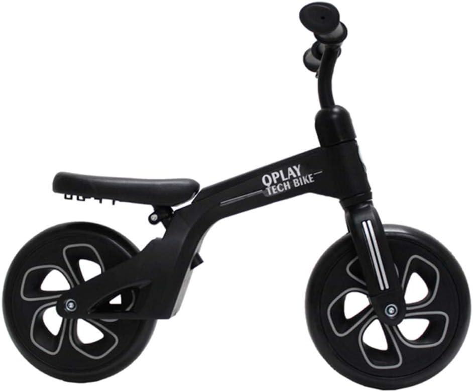 QPLAY - Bicicleta sin Pedales Tech Balance Bike Negra - Asiento Ajustable en 4 Alturas y Acolchado - Ideal para niños de 2 a 4 años (máximo 30 Kg)